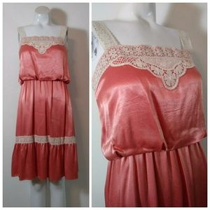 Vintage 70s satin lace 20s inspired dress